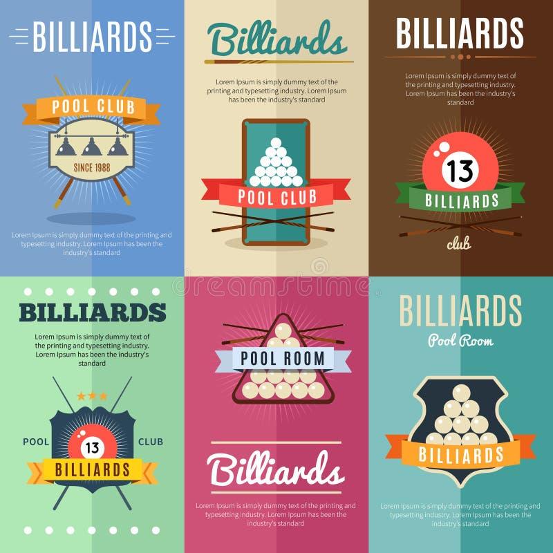 Billiards etykietki Ilustracyjny set royalty ilustracja