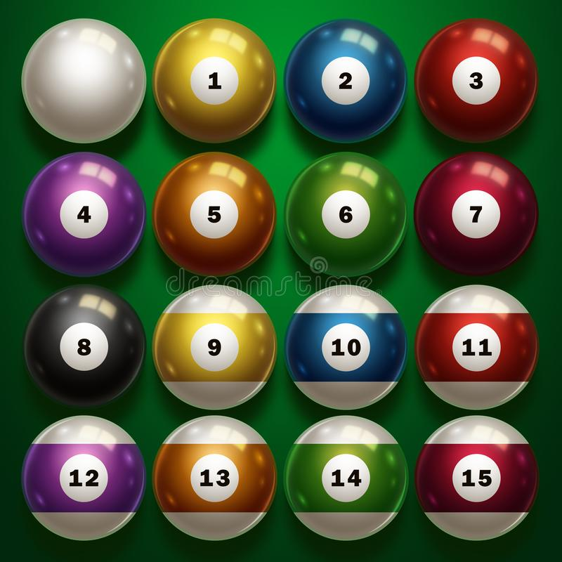 Billiards, full set of billiard balls isolated on a green background. Snooker. illustration royalty free illustration
