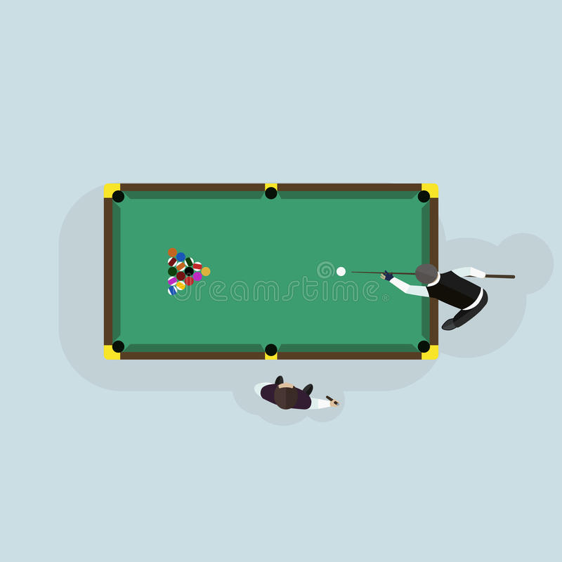 Billiards game table equipment vector. Billiards table game equipment activity challenge symbols. Vector green snooker competition play leisure illustration vector illustration
