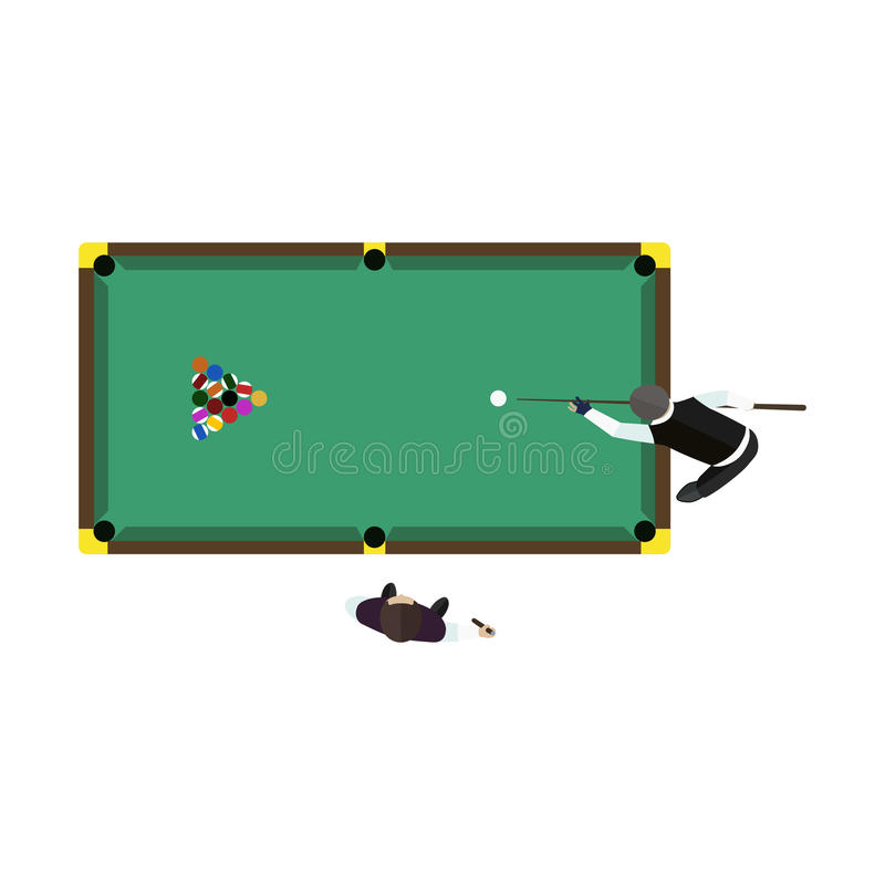 Billiards game table equipment vector. Billiards table game equipment activity challenge symbols. Vector green snooker competition play leisure illustration royalty free illustration