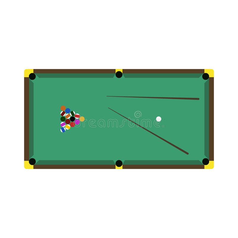 Billiards gemowego stołu wyposażenia wektor royalty ilustracja