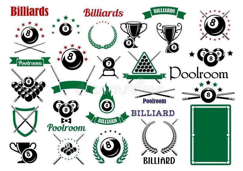 Billiards i basen rzeczy dla sporta gemowego projekta ilustracja wektor