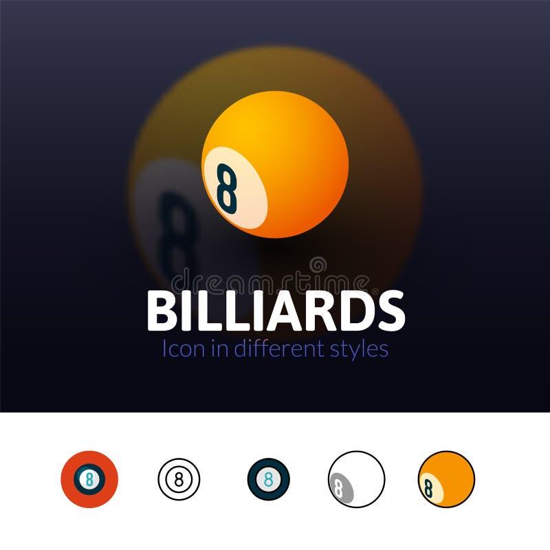 Billiards ikona w różnym stylu ilustracji