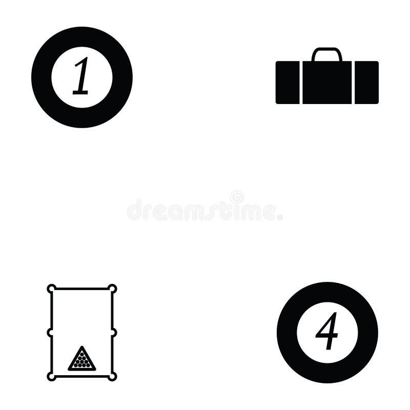 Billiards ikony set ilustracji
