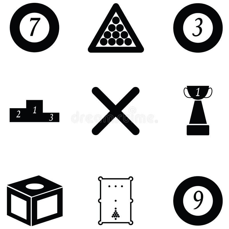 Billiards ikony set royalty ilustracja