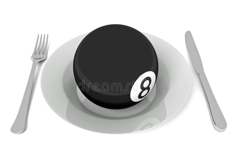 Billiards jedzenie: bilardowa piłka z cutlery, 3d ilustracja ilustracja wektor