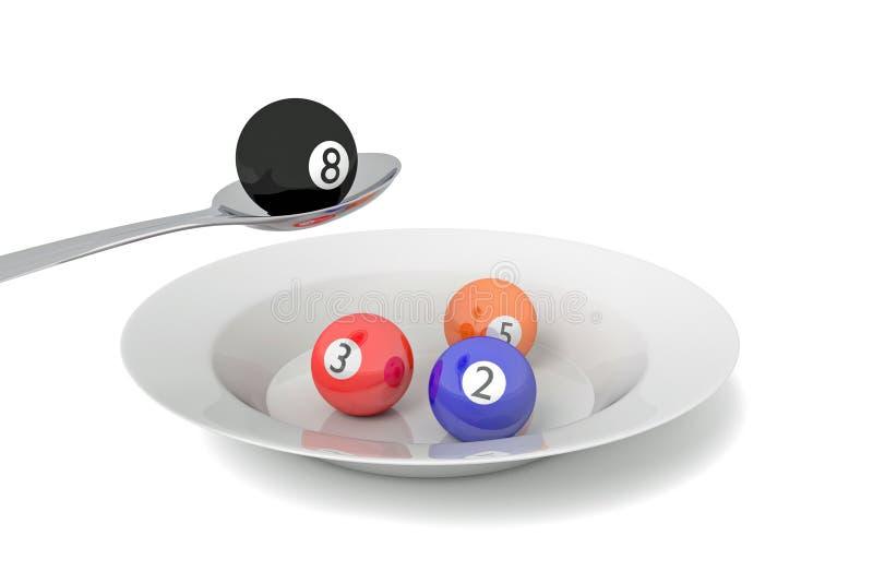 Billiards jedzenie: bilardowe piłki z łyżką, 3d ilustracja ilustracja wektor