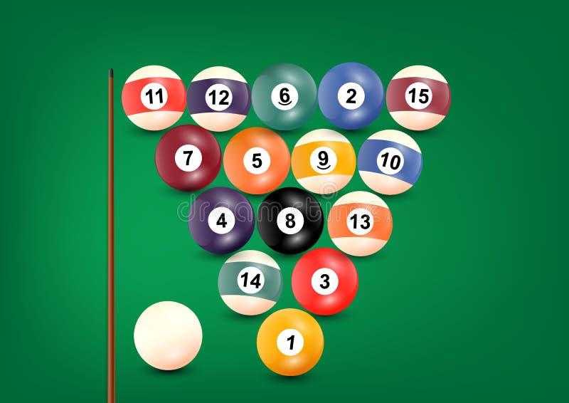 Billiards lub snooker piłki ustawiać na błękitnym tle, wektorowa ilustracja ilustracja wektor