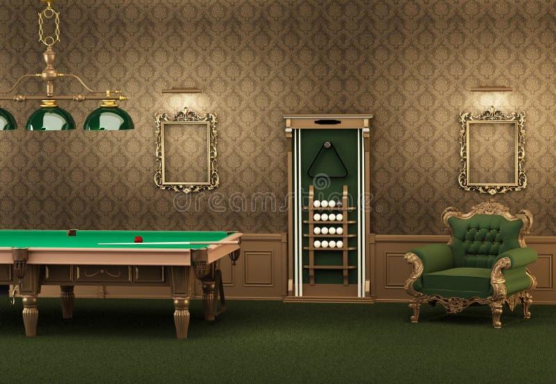 billiards meblarski wewnętrzny basenu stół royalty ilustracja