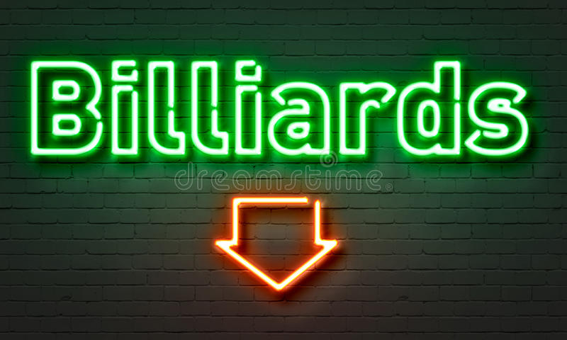 Billiards neon sign on brick wall background. stock image