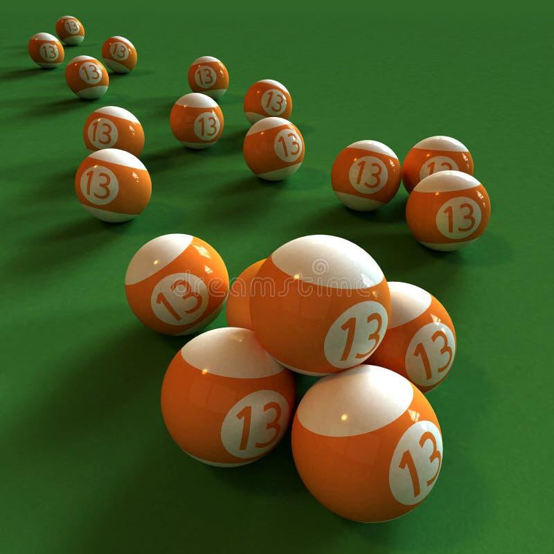 Billiards and number thirteen vector illustration