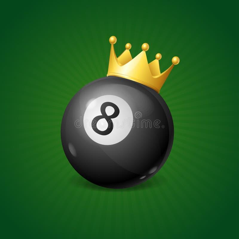 Billiards pojęcie z Złotą koroną wektor ilustracji