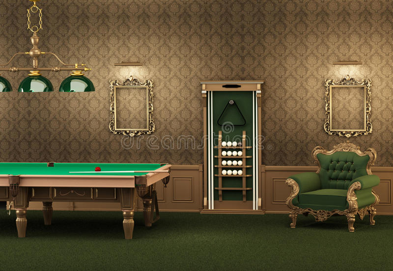 Billiards. pool table and furniture in interior. Billiards. pool table and furniture in luxurious interior. Empty frames on the wall and armchair in modern room royalty free illustration