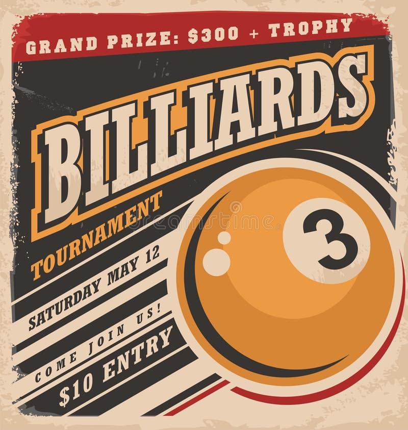Billiards projekta retro plakatowy układ royalty ilustracja