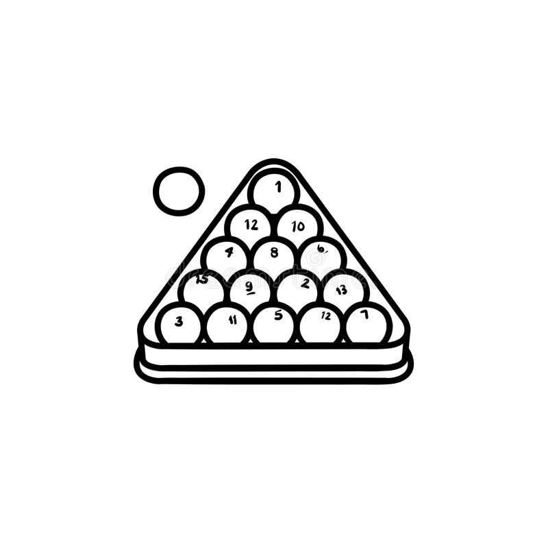 Billiards rack hand drawn sketch icon. vector illustration