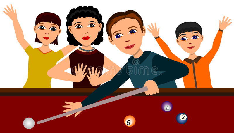 billiards rodzinni ilustracja wektor