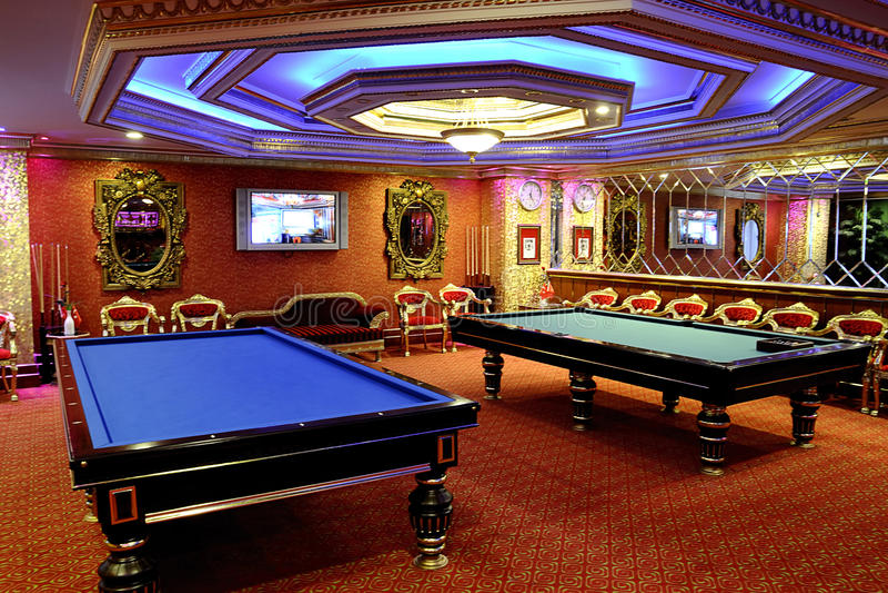 Billiards room stock photos