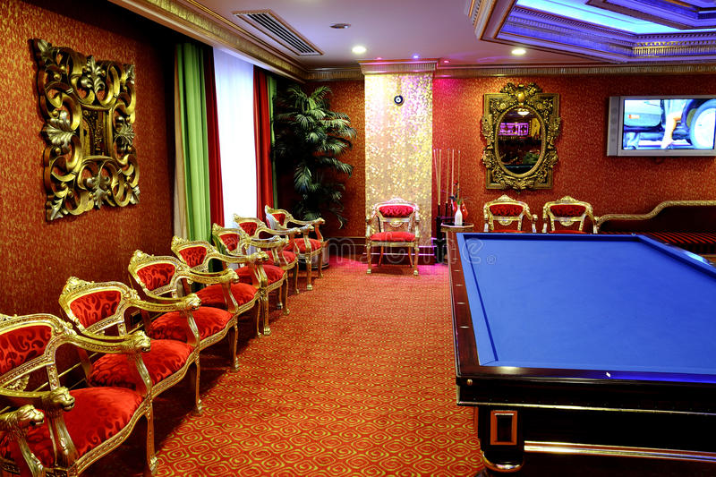 Billiards room. The classical room for billiards stock photography