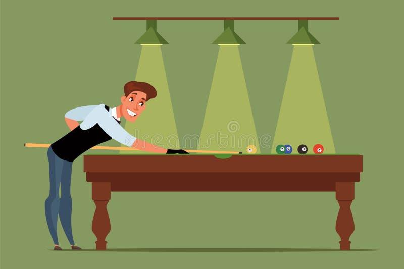 Billiards, snooker player flat vector illustration isolated on green background stock illustration