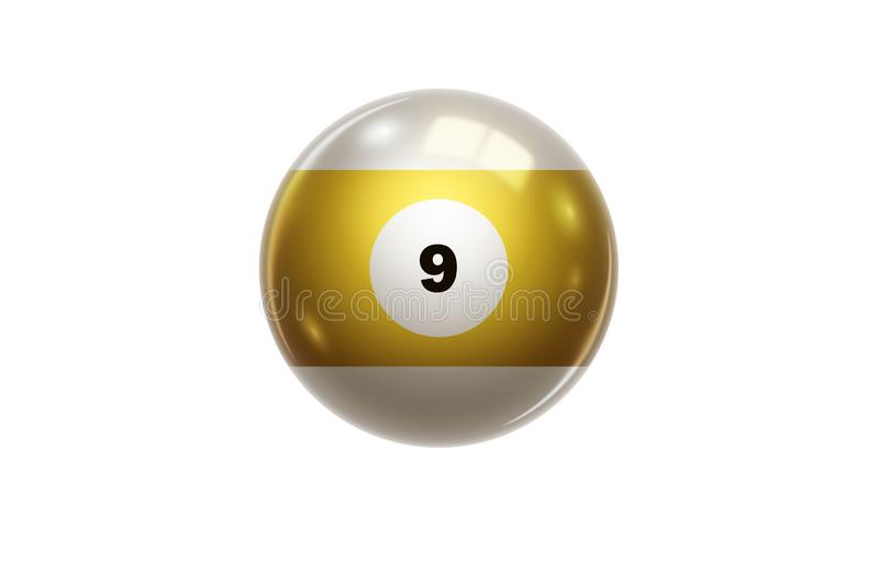 Billiards, Yellow ball at number 9, Nine, isolated on white background. Snooker. Stock Illustration.  stock illustration