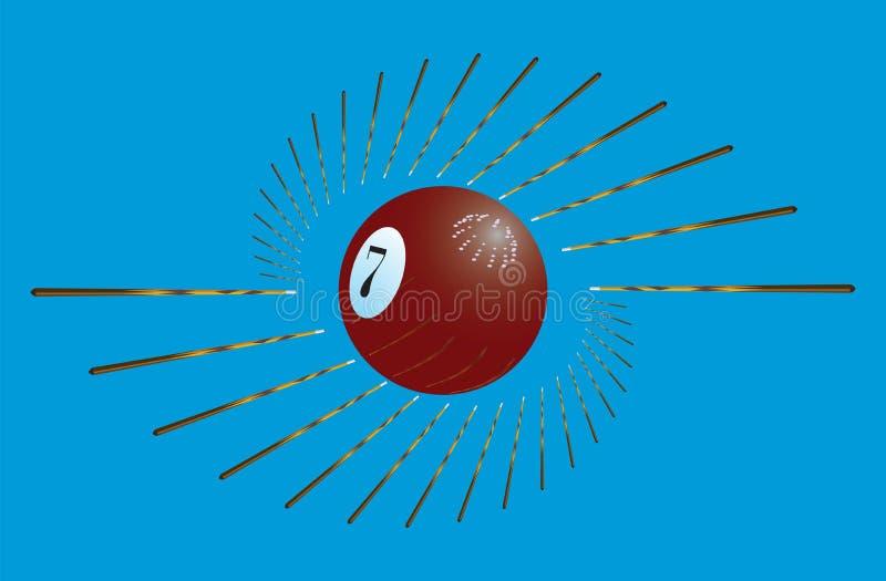 Billiardstickreplik och boll stock illustrationer