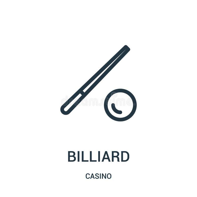 billiardsymbolsvektor fr?n kasinosamling Tunn linje illustration f?r vektor f?r billiard?versiktssymbol royaltyfri illustrationer