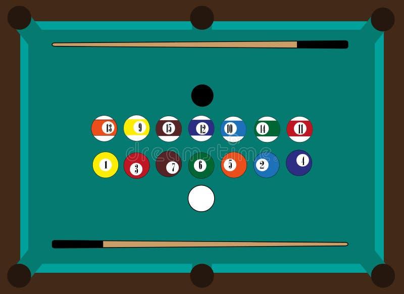 Billiardtabell, billiardbollar, stickreplik två vektor illustrationer