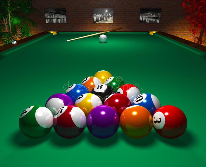 Billiardtabelle im Klumpen stock abbildung