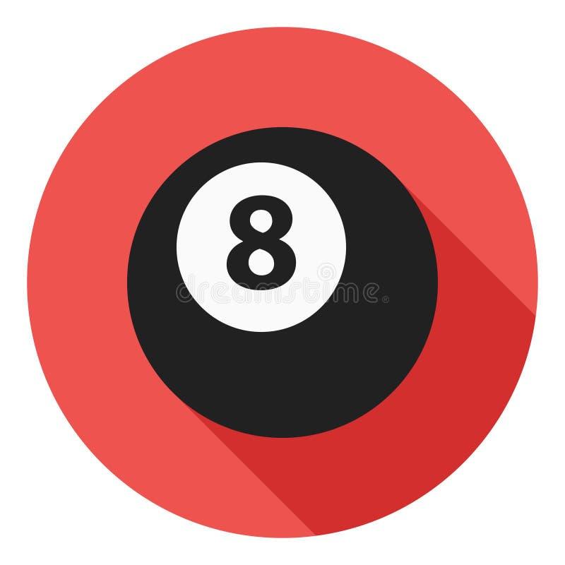 Billiardvektorsymbolen, symbolen för 8 boll, sportar klumpa ihop sig symbol Modern plan lång skuggavektorsymbol royaltyfri illustrationer
