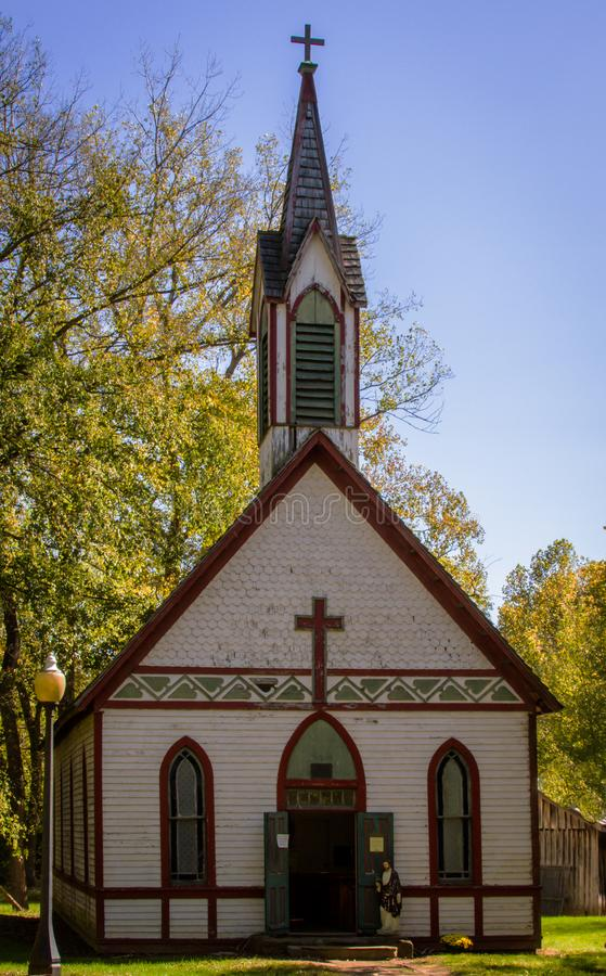 Billie Creek Church. This photograph of Billie Creek Church in IN is a quaint, colorful country church reminiscent of churches long ago stock photography