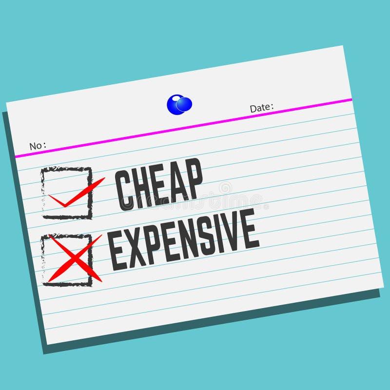 Billig oder teuer auf Papier mit kreativem Entwurf für Ihre Grußkarte lizenzfreie abbildung