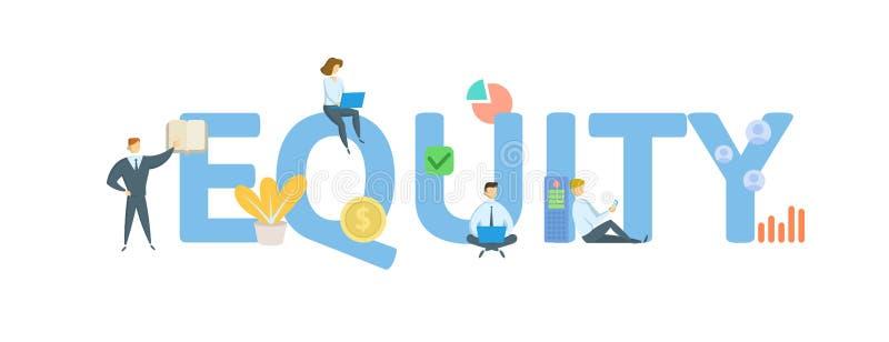 billigkeit Konzept mit Leuten, Buchstaben und Ikonen Flache Vektorillustration Getrennt auf wei?em Hintergrund stock abbildung