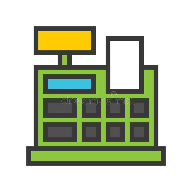 Billing machine vector, Online shopping filled style icon editable outline royalty free illustration