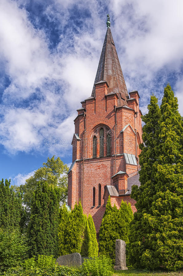 Billinge Kyrka. An image of the red brick church in the swedish town of Billinge stock photos