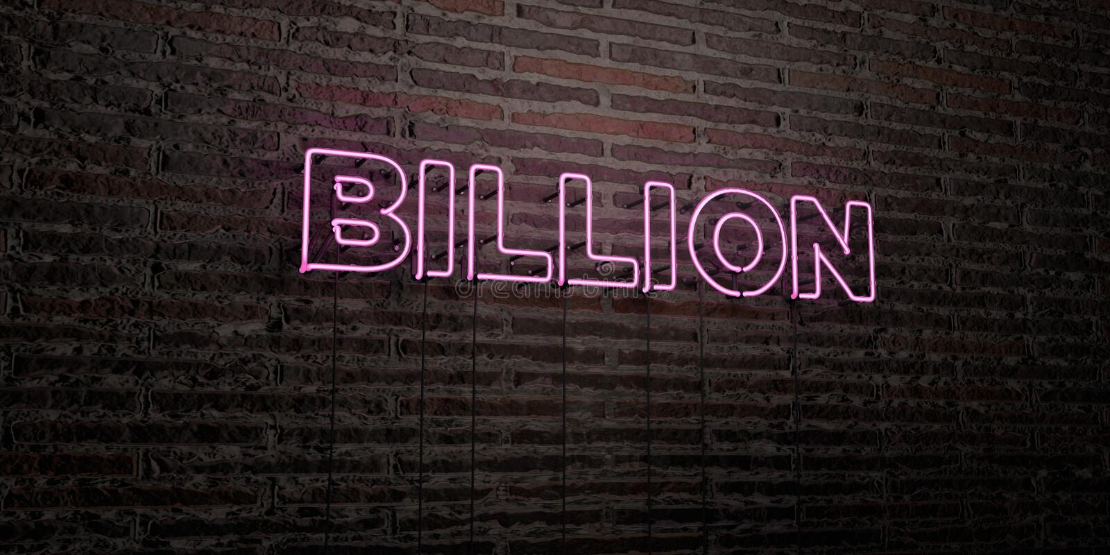 BILLION -Realistic Neon Sign on Brick Wall background - 3D rendered royalty free stock image stock illustration