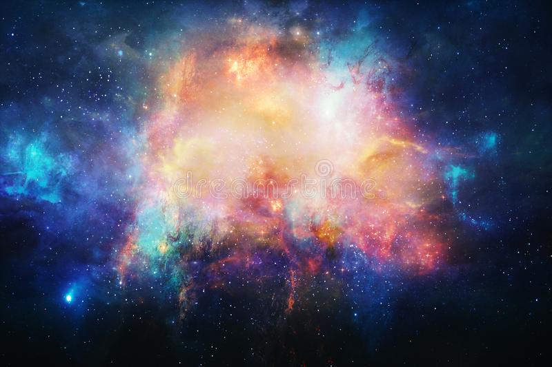 Abstract Stars Of A Nebula Galaxy In A Free Space Background. Billions of galaxies in the universe. Abstract multicolored deep space background stock illustration