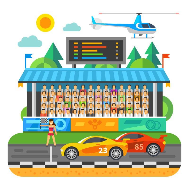 Billopp Konkurrens på stadion vektor illustrationer
