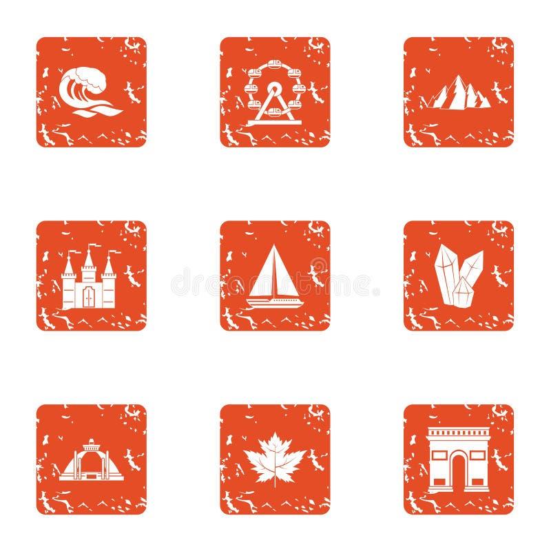 Billow geplaatste waterpictogrammen, grunge stijl stock illustratie