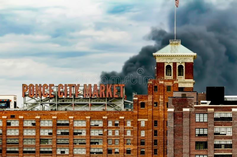 Billows of Smoke Rising from Interstate Collapse royalty free stock photography