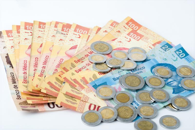 Bills and coins accumulated by a person over a certain period of time, stock images