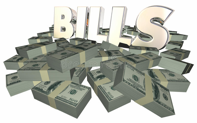 Bills Paying Invoice Money Owed Payment Cash Piles Stacks. 3D stock illustration