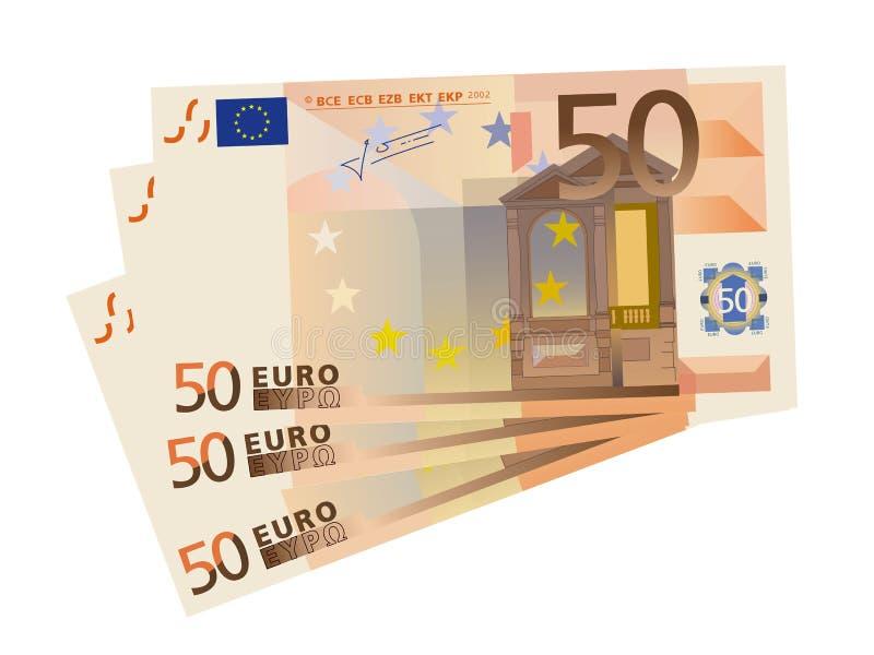 bills som 3x 50 tecknar den euro isolerade vektorn royaltyfri illustrationer