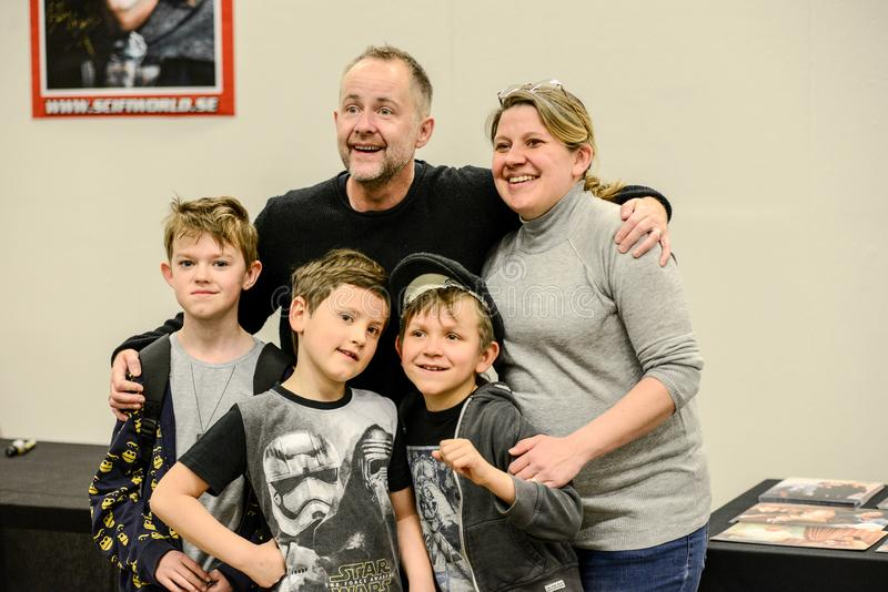 Billy Boyd actor in Lord of the ring 2017. Billy Boyd on Scifi convention in Gothenburg 2017 in action to get selfie photo with happy fans from the convention royalty free stock photos