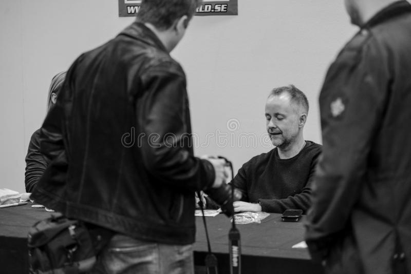 Billy Boyd actor in Lord of the ring 2017. Billy Boyd on Scifi convention in Gothenburg 2017 in action to get selfie photo with happy fans from the convention stock photography