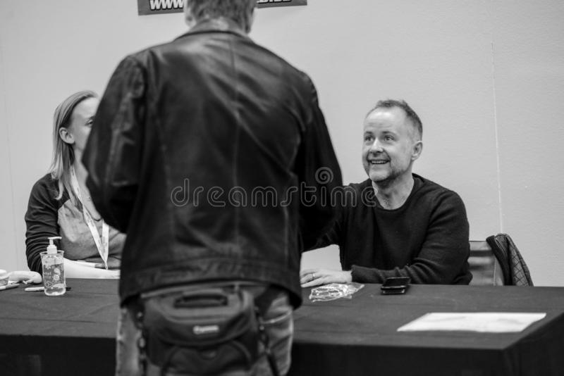 Billy Boyd actor in Lord of the ring 2017. Billy Boyd on Scifi convention in Gothenburg 2017 in action to get selfie photo with happy fans from the convention stock photo