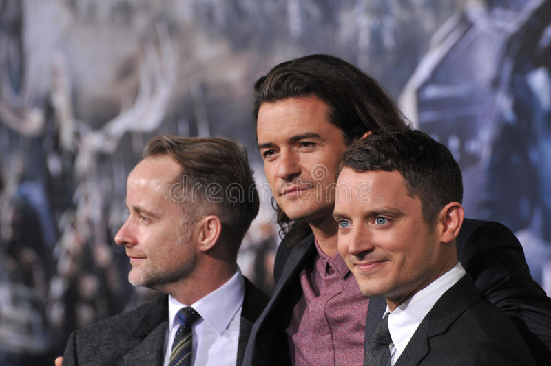Billy Boyd & Orlando Bloom & Elijah Wood fotografia de stock