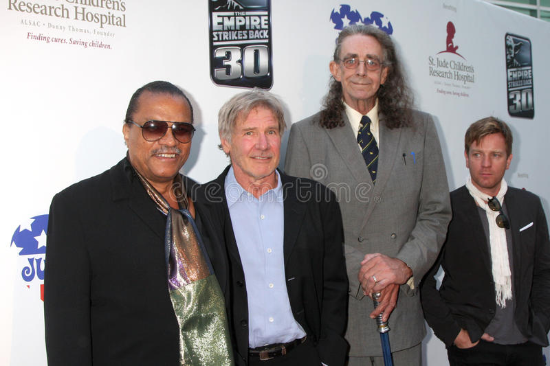 Billy Dee Williams, Harrison Ford, Peter Mayhew, Guillermo Harrison foto de archivo libre de regalías