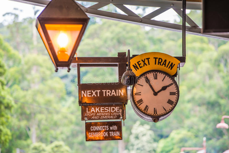 Billy Train Timetable de soufflage image stock