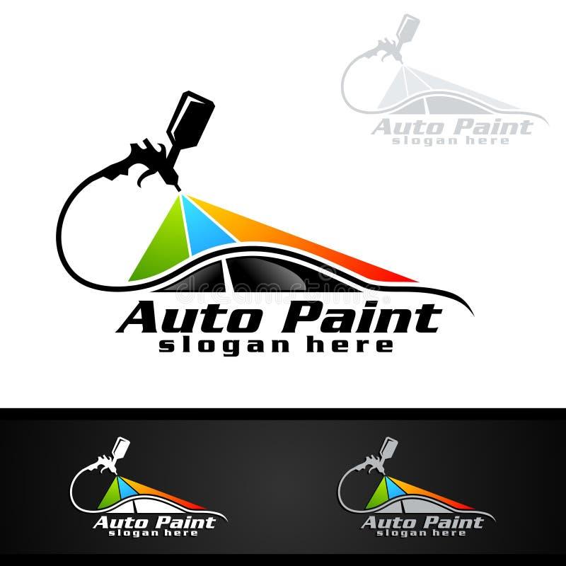Bilmålninglogo med sprutpistol- och för sportbil begrepp vektor illustrationer