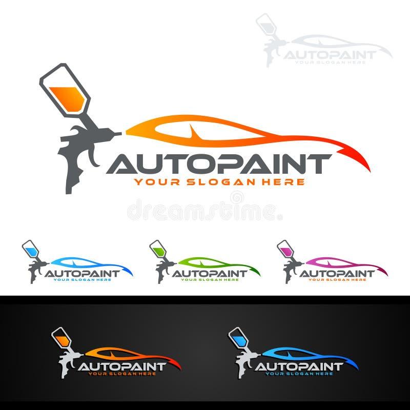 Bilmålninglogo med sprutpistol- och för sportbil begrepp royaltyfri illustrationer